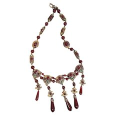 Neiger, Czech, Gold Plated, Maroon Glass, Lime Green Enamel Necklace