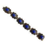 Czech, Neiger, Vintage, Filigree Brass, Blue Glass Bracelet