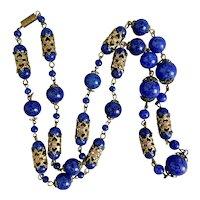 Czech, Vintage, Dark Blue Glass, Brass Filigree, Beaded Necklace