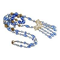 Czech, Neiger, Brass Filigree, Faceted Blue Glass, Festoon Necklace