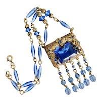 Czech, Neiger, Vintage, Gold-Plated Brass Filigree, Blue Glass Necklace