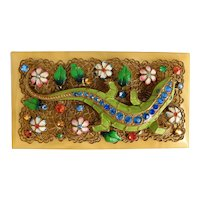 Czech, Neiger, Green Enamel, Multi-Colored Rhinestones, Enamel Flowers, Brass Filigree and Bakelite, Deco Lizard Brooch