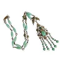 Czech, Neiger, Green Art Glass, and Filigree Brass Necklace