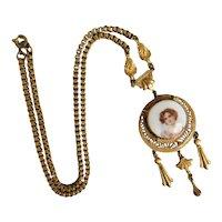 Czech, Neiger, Vintage, Filigree Brass, Pretty Lady, Glass Portrait Necklace