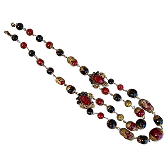 Czech, Neiger, Red and Black Glass Necklace
