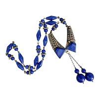 Neiger, Czech, Vintage, Dark Blue Glass, Art Deco, Silver-Plated Brass Necklace