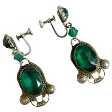 Czech, Vintage, Dark Green, Silver-Plated Brass, Screw Back Earrings
