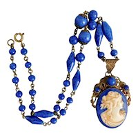 Max Neiger Vintage Czech Dark Blue Glass Cameo Necklace