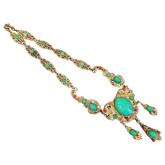 Czech, Neiger, Russian Gold Plated Brass, Green Glass and Filigree Necklace