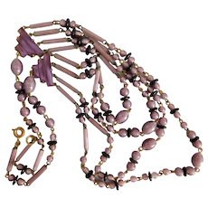 Czech, Vintage, Brass, Lavender and Black Glass, Beaded Festoon Necklace