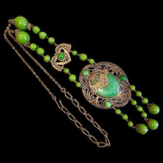 Czech, Neiger, Green Glass, and Brass, Flapper Type, 1920's Necklace