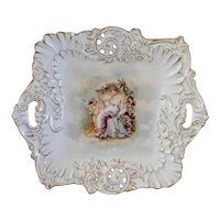 Antique, Eros and Lady, S and C Z and R Bavarian China Serving Plate with Handles, Gold Gilt