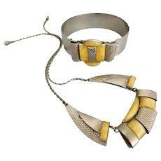 Czech, Vintage, Art Deco, Lemon Yellow, Necklace and Bracelet Set