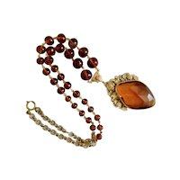 Czech, Neiger, Vintage, Floral Brass Filigree, Amber-Colored Glass Necklace
