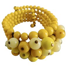 Vintage, Brass, Bright Yellow Glass, Expandable Beaded Bracelet
