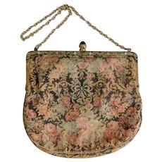 Antique, Austro Hungarian, Floral, Brass, Glass, Faux Marcasite, Enameled Frame, Linen Handbag
