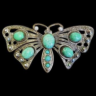 Czech, Neiger, Silver Plated Brass, Green Butterfly Brooch