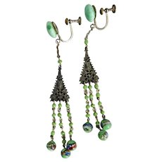 Czech, Neiger, Vintage, Filigree Brass, Foil and Green Glass, Screw-Back Earrings