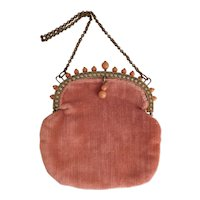 Czech, Pink Velvet, Coral Glass, and Brass, Vintage Purse