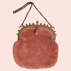 Czech, Pink Velvet, Coral Glass, and Brass, Vintage Purse