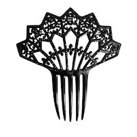 Antique, Victorian, , Black Celluloid, Spanish Mantilla, Hair Comb with Dark Red Rhinestones