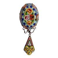 Antique, Italian, Micro Mosaic, Colorful Rose Brooch