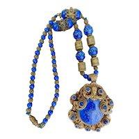 Czech, Neiger, Dark Blue Glass, Filigree Brass, Queen Lady Face Necklace