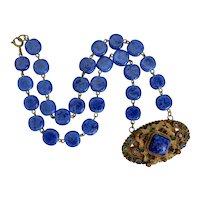Neiger, Czech, Dark Blue Glass, and Brass Art Deco Necklace