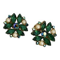 Vintage, Large, Faux Pearl, Dazzling Green Glass and Reflective Blue Glass Clip-On Earrings