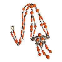 Vintage, Czech, Neiger, Brass, Tiger-Orange, Swirly Glass Beaded Necklace