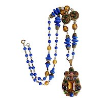 Czech, Neiger, Multi-Colored, Enamel, Brass, and Glass Necklace