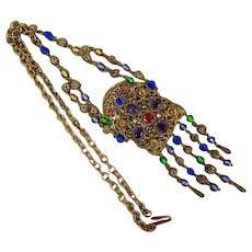 Czech, Neiger, Multi-Colored, Filigree, Vintage, Necklace