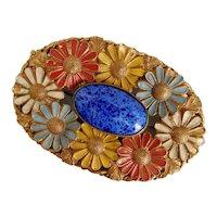 Czech, Neiger, Brass, Multi-Colored Enamel, and Blue Glass Brooch