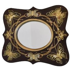 Art Nouveau, Hardwood Wall or Dresser Mirror, Relief Butterflies, Green, Brown and Gold Colors