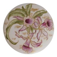 Antique, Limoges Region, Hand Painted, Orchids, Porcelain Powder/Dresser Box