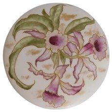 Antique, Limoges Region, Hand Painted, Orchids, Porcelain Powder/Dresser Box