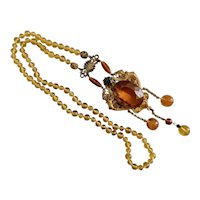 Czech, Neiger, Vintage, Winged Dragons, Amber-Colored, Filigree Brass, Necklace