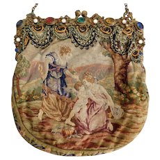 Neiger-Jeweled, Petit Point, Cloth and Brass 1920's Evening Purse