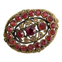Czech, Vintage, Neiger, Brass Filigree, Faceted Red Glass, Faux Marcasites, Floral-Themed Brooch