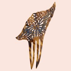 Antique, Victorian, Butterfly, Amber-Light Brown Colored Celluloid, Blue Rhinestones, Spanish Mantilla, Hair Comb
