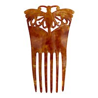 Antique, Victorian, Butterfly, Mottled Amber Colored Celluloid, Spanish Mantilla, Hair Comb