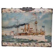 Antique, Historic Memorabilia, Celluloid Picture Album, Features Commodore Dewey's Ship, Olympia