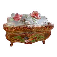 Niagara Falls, Art Nouveau, Metal, Antique Jewelry Casket, Rose and Floral Theme, Green Silk Lined