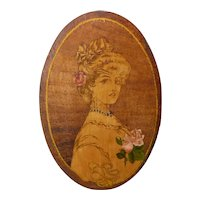Antique, Victorian Pyrography Picture, Young Woman with Pink Roses