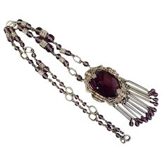 Neiger, Czech, Vintage, Purple Glass, and Silver Plated Brass Necklace
