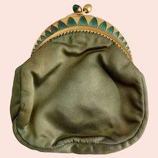 Vintage, Green Satin, Green Guilloche, Gold Gilt, Art Deco Coin Purse