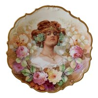 Limoges France, Art Nouveau, Gold Gilt, Pink and Green Roses, Decorative Cabinet Plate