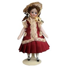 Silk dress and hat for french type mignonette doll