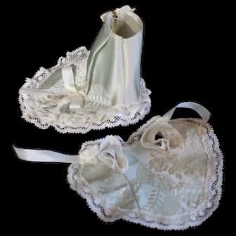 Embroidered aqua silk ensemble for mignonette doll