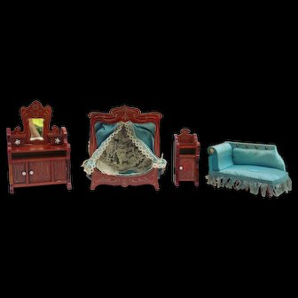 Antique dollhouse bedroom furniture with canopy bed - mignonette doll size